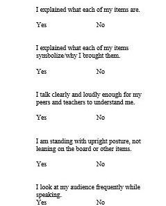 Who Am I/My Culture Presentation Rubric - what I would be assessing the students on when they present their 3 artifacts/items/pictures.