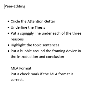 Peer-editing for the Old Man and the Sea papers--gives ownership and responsibility while encouraging students to work together.