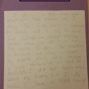 I had the students write a paragraph on the back explaining their symbols, why they drew them, and what they learned about their family as a reflection and writing assessment.