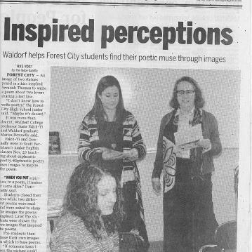 Teaching poetry as a volunteer in Forest City High School.