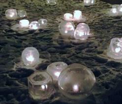 Ice candles at Sara's memorial reception