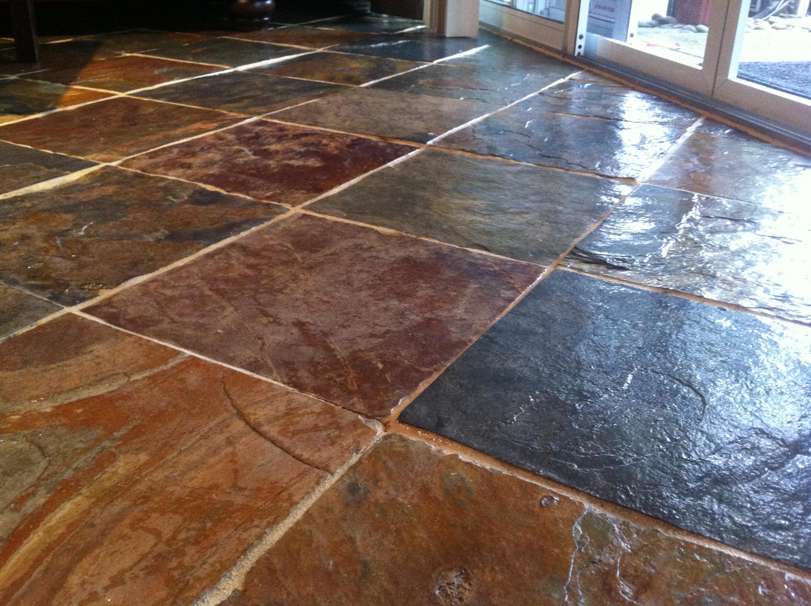 sealing natural slate tile flooring
