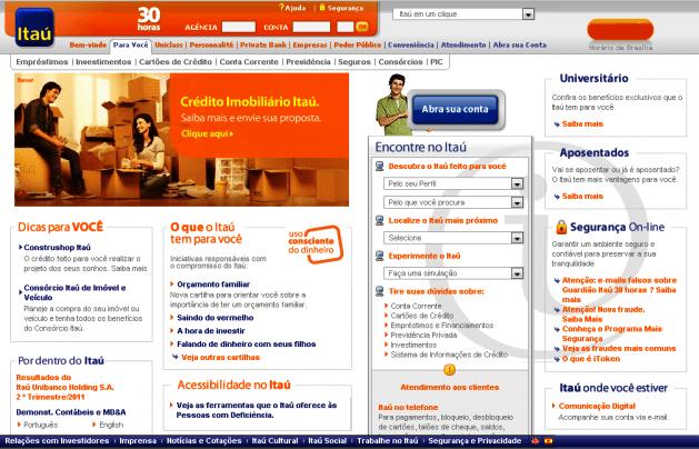 site do banco itau Site do Banco Itaú