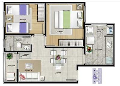platan 20de 20apartamento 203 20quartos1 Fotos e Plantas de Casas Simples e Apartamentos