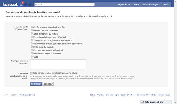 facebook desativar21 Como Excluir o Facebook