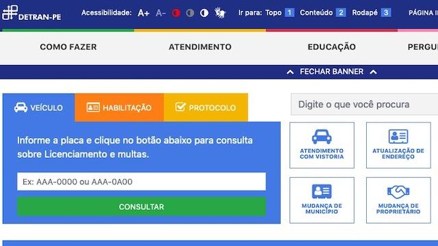 Detran PE Pernambuco Consulta de Pontos CNH