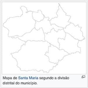 Mapa com divisão dos distritos da Região de Santa Maria RS