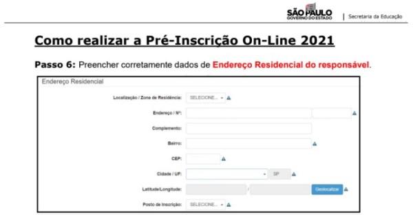 Captura de Tela 2021 03 25 às 11.18.59 Pré-Inscrição online 2021 para Matrícula Rede Pública de Ensino São Paulo