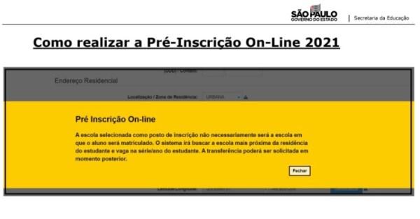 Captura de Tela 2021 03 25 às 11.20.18 Pré-Inscrição online 2021 para Matrícula Rede Pública de Ensino São Paulo