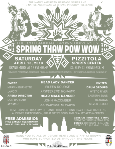 12th Annual Spring Thaw Pow Wow Official Poster with Head Staff Info