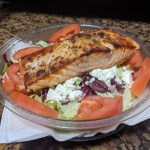 Greek Salad w/ Broiled Salmon