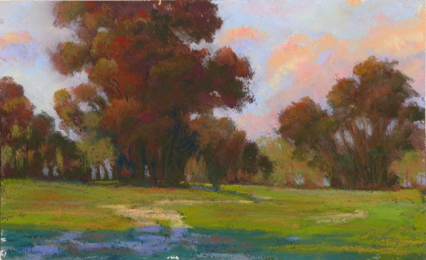Green and Pink by Western pastel landscape artist Don Rantz