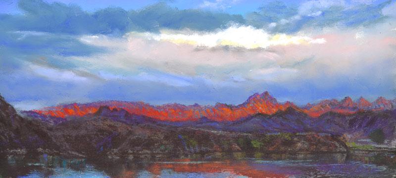 Lake Havasu Sunrise 1 by Western pastel landscape artist Don Rantz