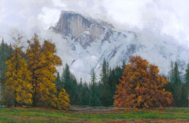Halfdome-Early Autumn Storm by Western pastel landscape artist Don Rantz