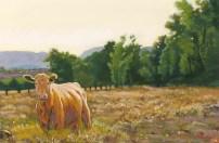 Happy Cow by Western pastel landscape artist Don Rantz