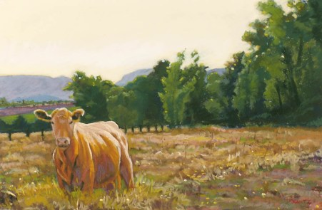 Happy Cow by Western pastel landscape artist Don Rantz