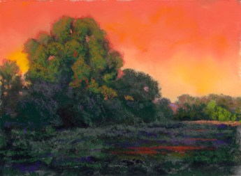 Orange and Green by Western pastel landscape artist Don Rantz