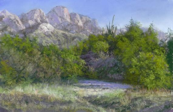 Pusch Ridge by Western pastel landscape artist Don Rantz