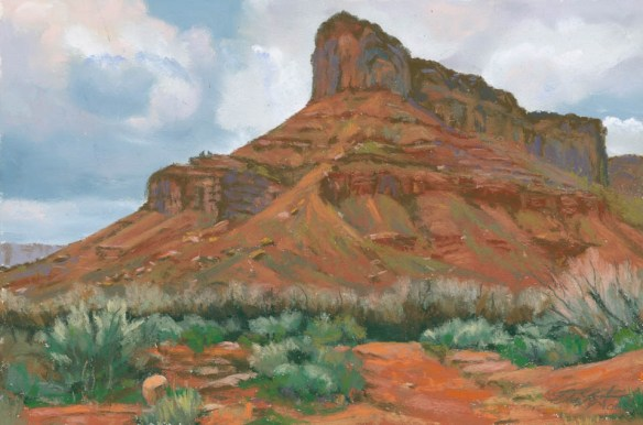 Red Butte Rising by Western pastel landscape artist Don Rantz