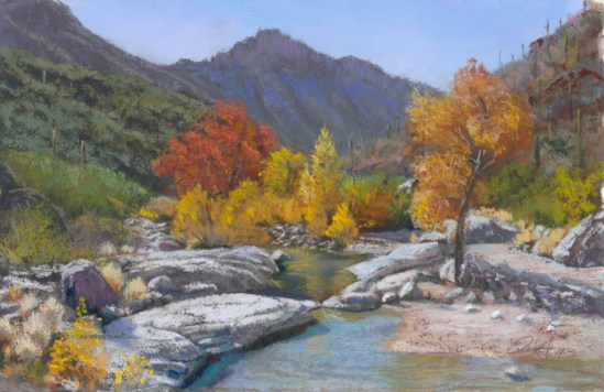 Sabino Canyon Pool by Western pastel landscape artist Don Rantz