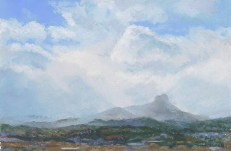 Thumb Butte Storm by Western pastel landscape artist Don Rantz