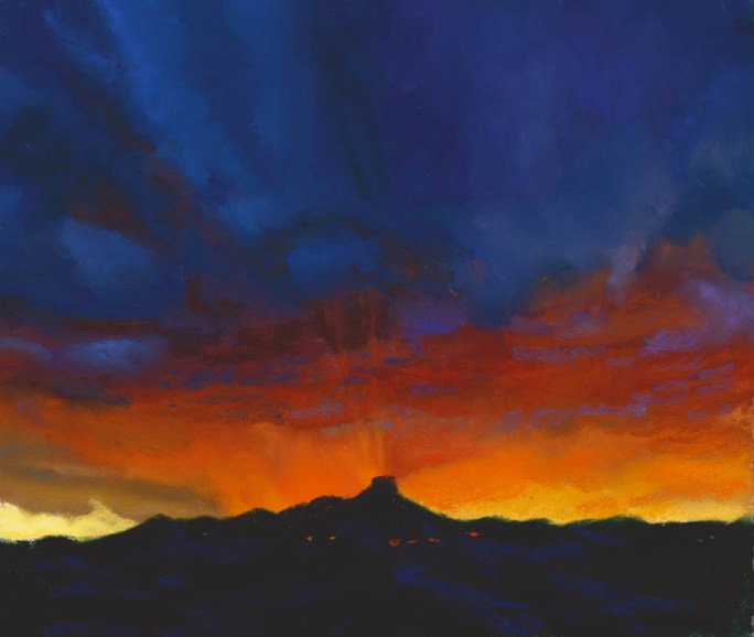Thumb Butte Sunset by Western pastel landscape artist Don Rantz