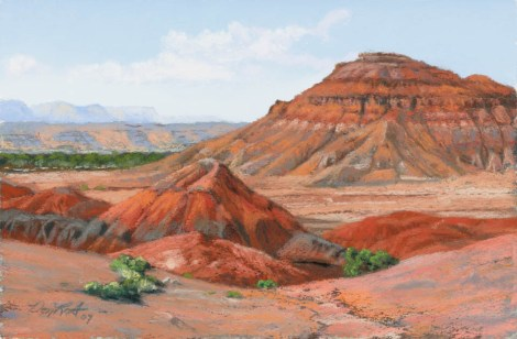 Two Buttes by Western pastel landscape artist Don Rantz