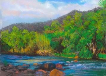 Verde River-Afternoon by Western pastel landscape artist Don Rantz
