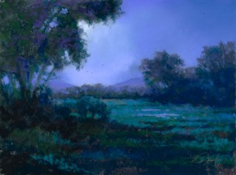 Watson Woods in Blue by Western pastel landscape artist Don Rantz