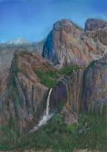 Ribbon Falls by Western pastel landscape artist Don Rantz