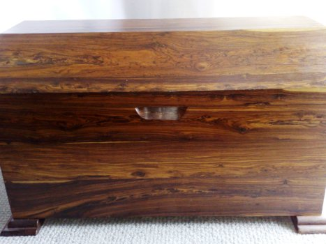 A rare coffer in solid tropical wood