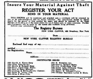 A New York Clipper ad to Register Your Act with them to insure your material against theft.