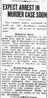 McAllister Murder – Expect Arrest Soon – Jan 19, 1925