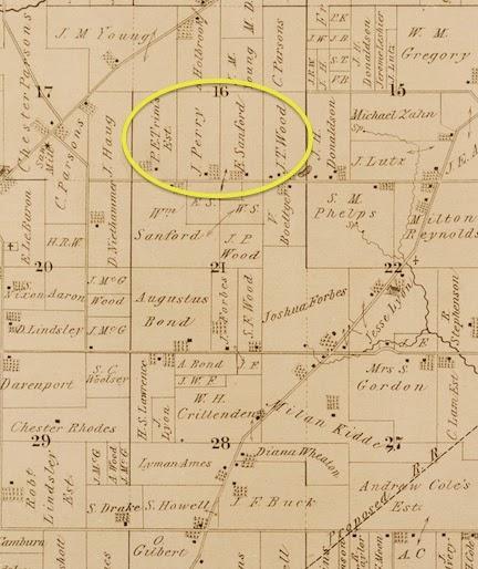 Map of Saline Village showing Sanford farm, 1874