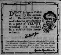 Clipping of an Advertisement for Velvet pipe tobacco.