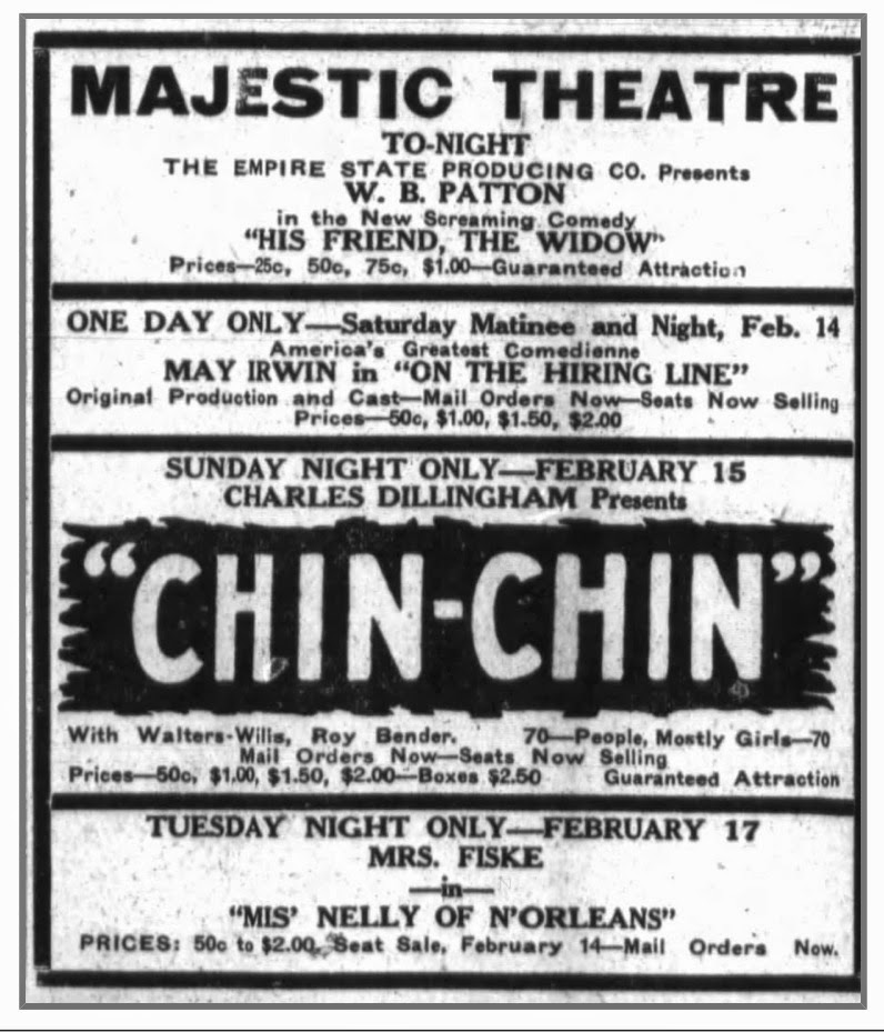 Donna in Fort Wayne, IN, at the Majestic Theatre – February 15, 1920
