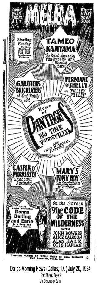 Donna in Dallas, TX, at the Melba Theatre – July 20-26, 1924