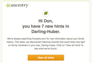 Email saying I have 7 new hints on Darling-Huber
