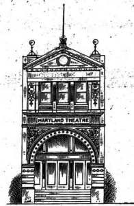 Drawing - Maryland Theatre, Cumberland, MD c. 1907