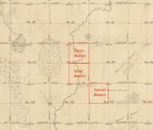 Map of Mannin Homesteads in Csss County