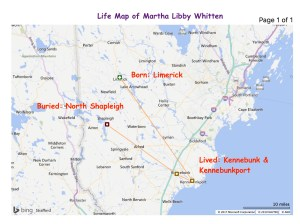 Life map of Martha Libby Whitten