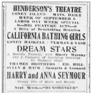Ad for Henderson's Theater showing California Bathing Girls.
