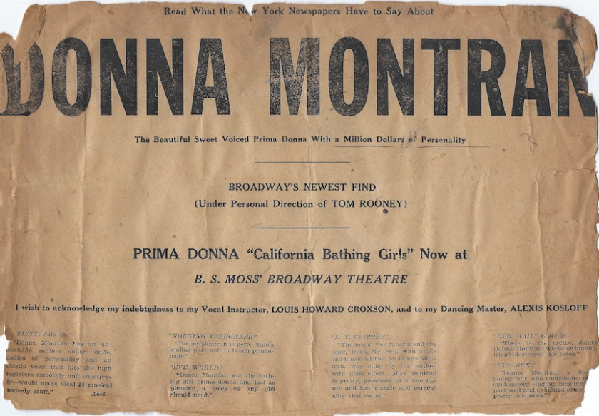 Newspaper ad promoting Donna Montran