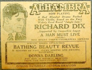 Newspaper Clipping of Alhambra Theatre showing Richard Dix movie & the Bathing Beauty Revue