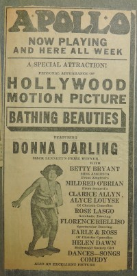 Newspaper clipping - Ad - Apollo Theater showing Hollywood Motion Picture Bathing Beauties.