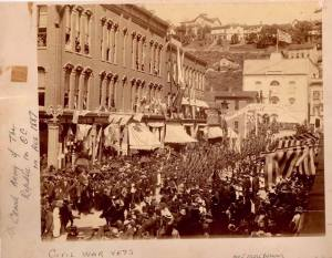 Image of parade of the Grand Old Army, Franklin, PA, Aug 1887.