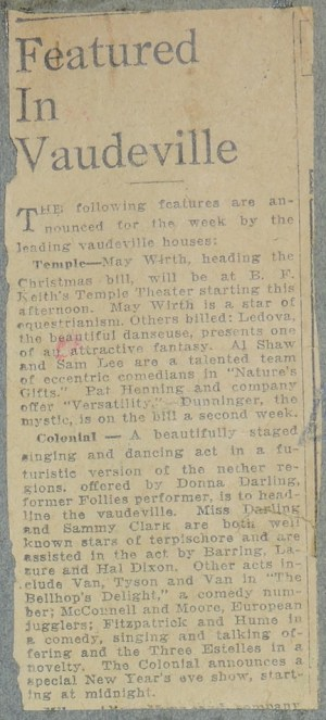 "Image of newspaper clipping ""Featured in Vaudeville"" from about 19 December 1926."