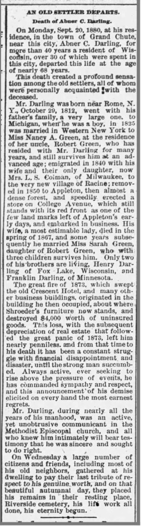 Obituary: Abner C. Darling (1812-1880)