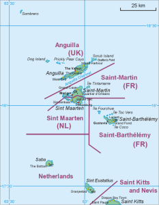 Map showing location of St. Barthélémy.