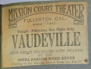 Clipping - Mission Court Theater - Vaudeville - Donna Darling